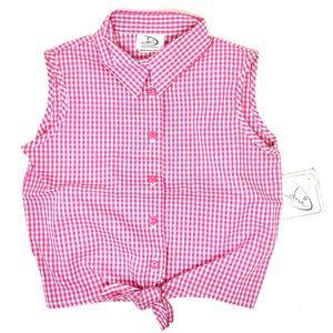 Dani Girls Gingham Tie Front Shirt
